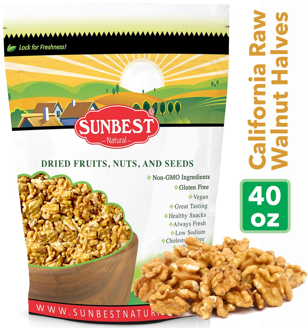 SUNBEST Natural Shelled Raw California Walnuts in Resealable Bag (2.5 Lb) by Sunbest