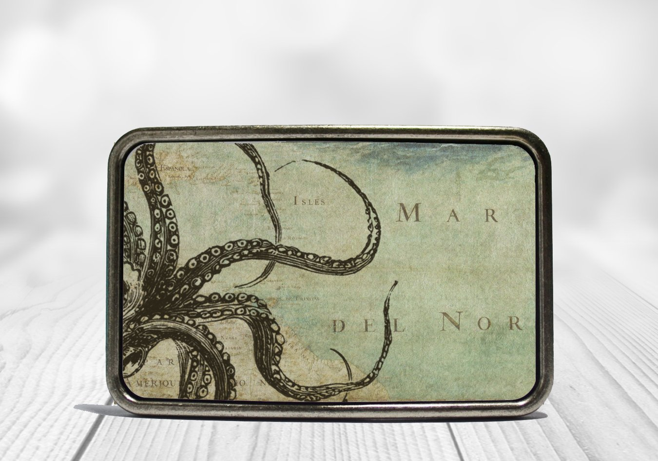 Octopus Tentacles on Map Belt Buckle