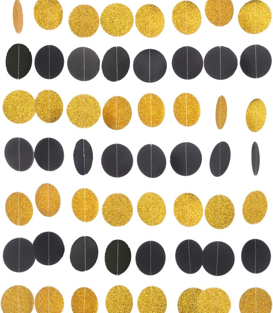 MerryNine Paper Garland, 5 Pack 50ft Glitter Paper Garland Circle Dots Hanging Decor, Paper Banner for Baby Shower, Birthday, Nursery Party Decor(Circle Polka Dots-Black Flash gold-50 Feet)