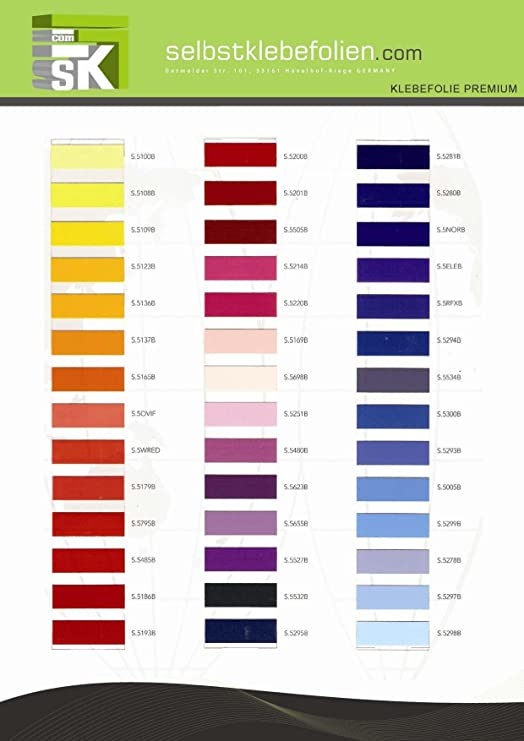 Selbstklebefolie viele Farben ab 1 Meter 120cm glänzend