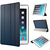 iPad Air 2 Hülle, EasyAcc Ultra Slim Cover Schutzhülle Bumper Lederhülle mit Standfunktion / Auto Sleep Wake Up Funktion für iPad Air 2 2014 Modell Number A1566/ A1567 - Dunkelblau, Ultra Slim