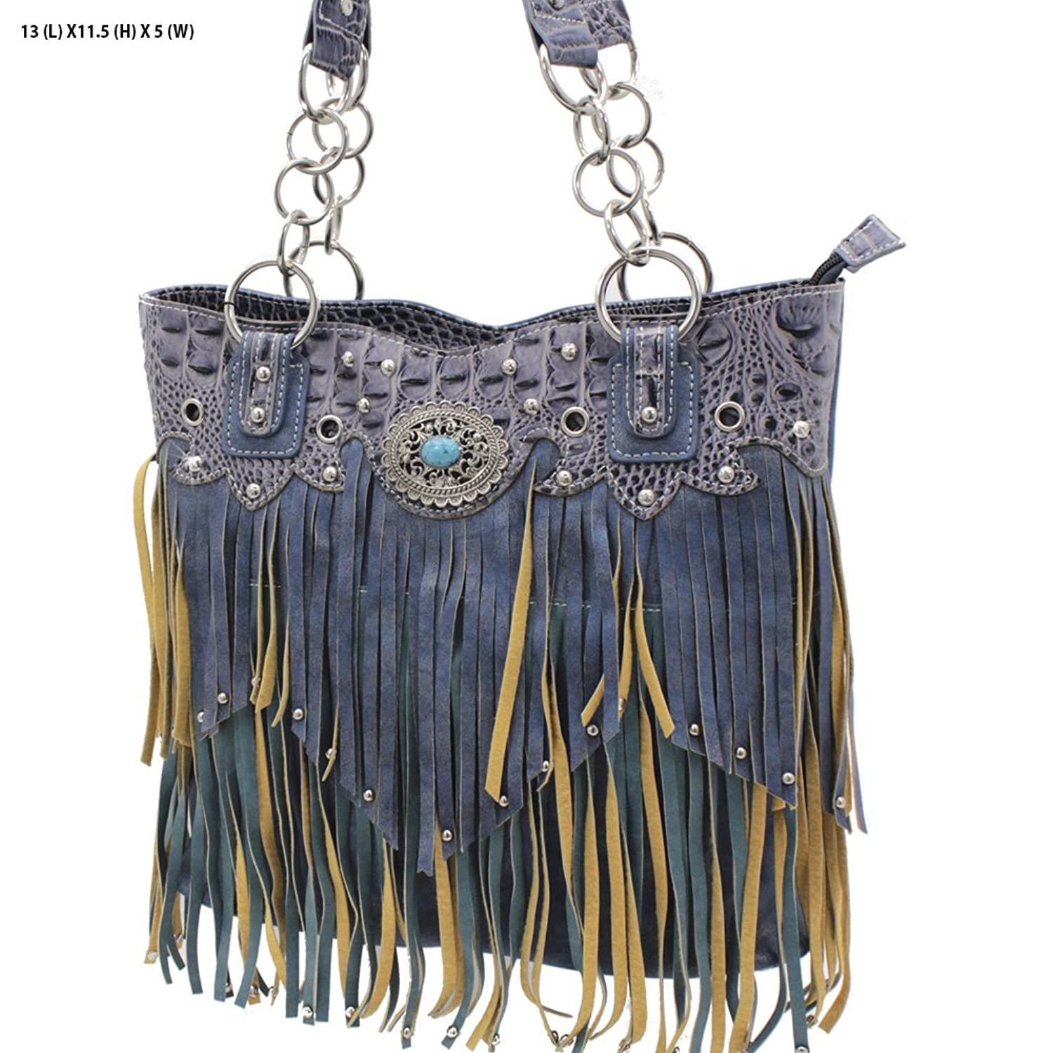 Western Cowgirl Navy and Turquoise Fringe with Turquoise Concho Handbag