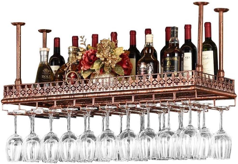 Estantes para vinos Altura ajustable en el techo Colgado Colgante Estante para botellas de vino Metal Hierro Estante de vidrio para vino Cubiletes Tocador Bastidores Estilo vintage Decoración Estante
