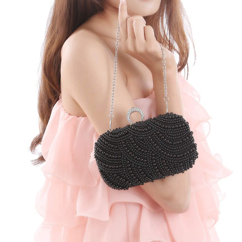 Syrads Bolsa de Cena Mujer Bolsa de Novia Hard Shell Clutches con Perla Embrague para Boda Fiesta Baile 769