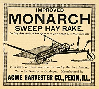 1893 Ad Acme Harvester Monarch Sweep Hay Rake Farming Equipment  Agricultural - Original Print Ad