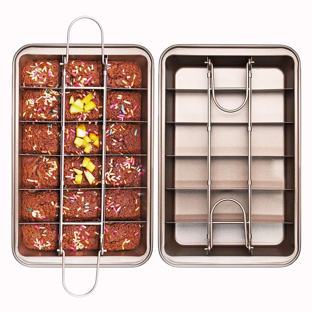 Non Stick Brownie Pans with Dividers, FDA Approved High Carbon Steel Baking Pan, Makes 18 Pre-cut Brownies All at Once, 12 by 8 Inches