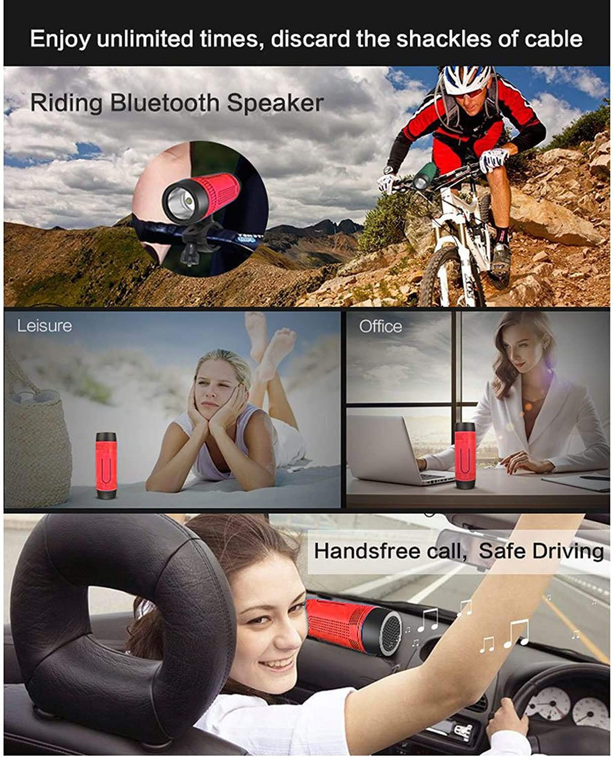 Portable Activity /& Bike Bluetooth Speaker with LED Flashlight Includes Mount