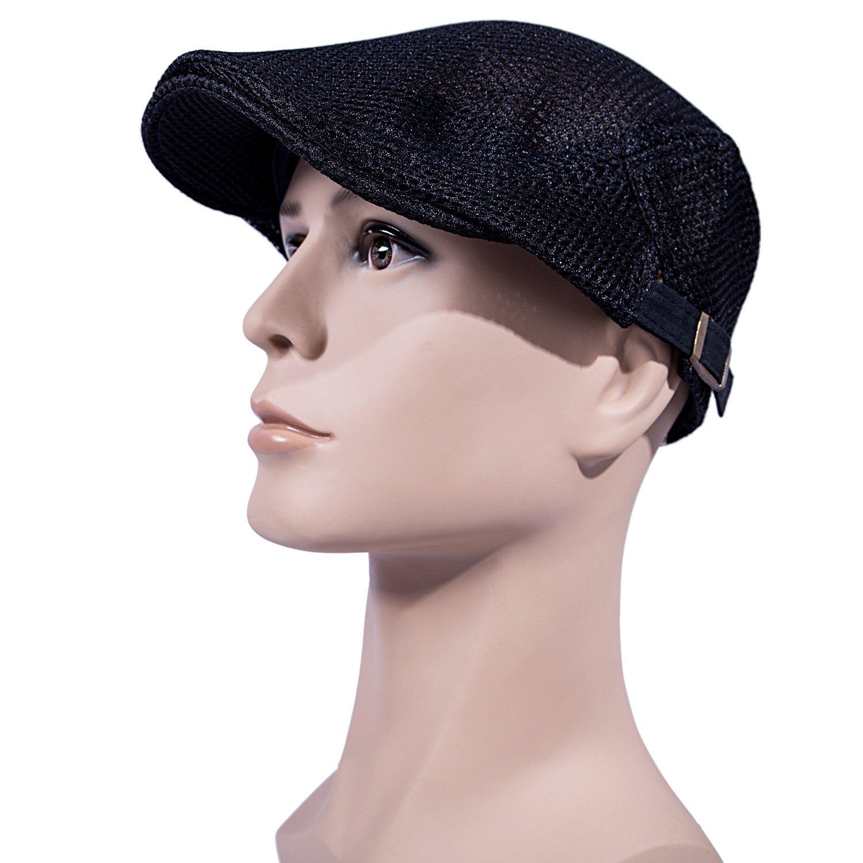 14eff3049fa Men Breathable mesh Summer hat Newsboy Beret Ivy Cap Cabbie Flat Cap  B071X6PW3K