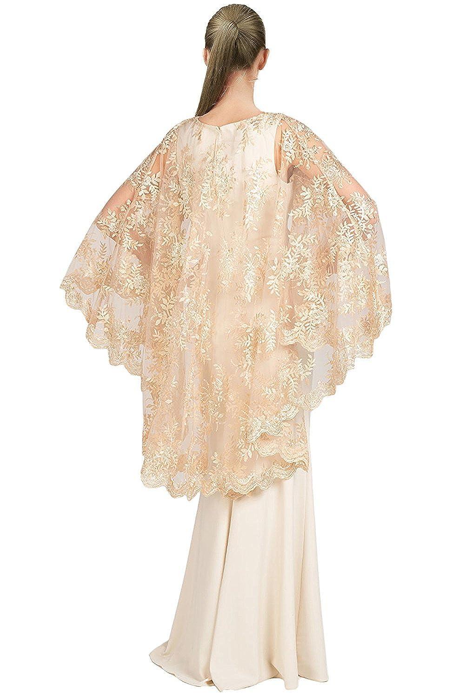 Amazon.com: Badgley Mischka Lace Cape Sleeve Evening Gown Dress: Clothing