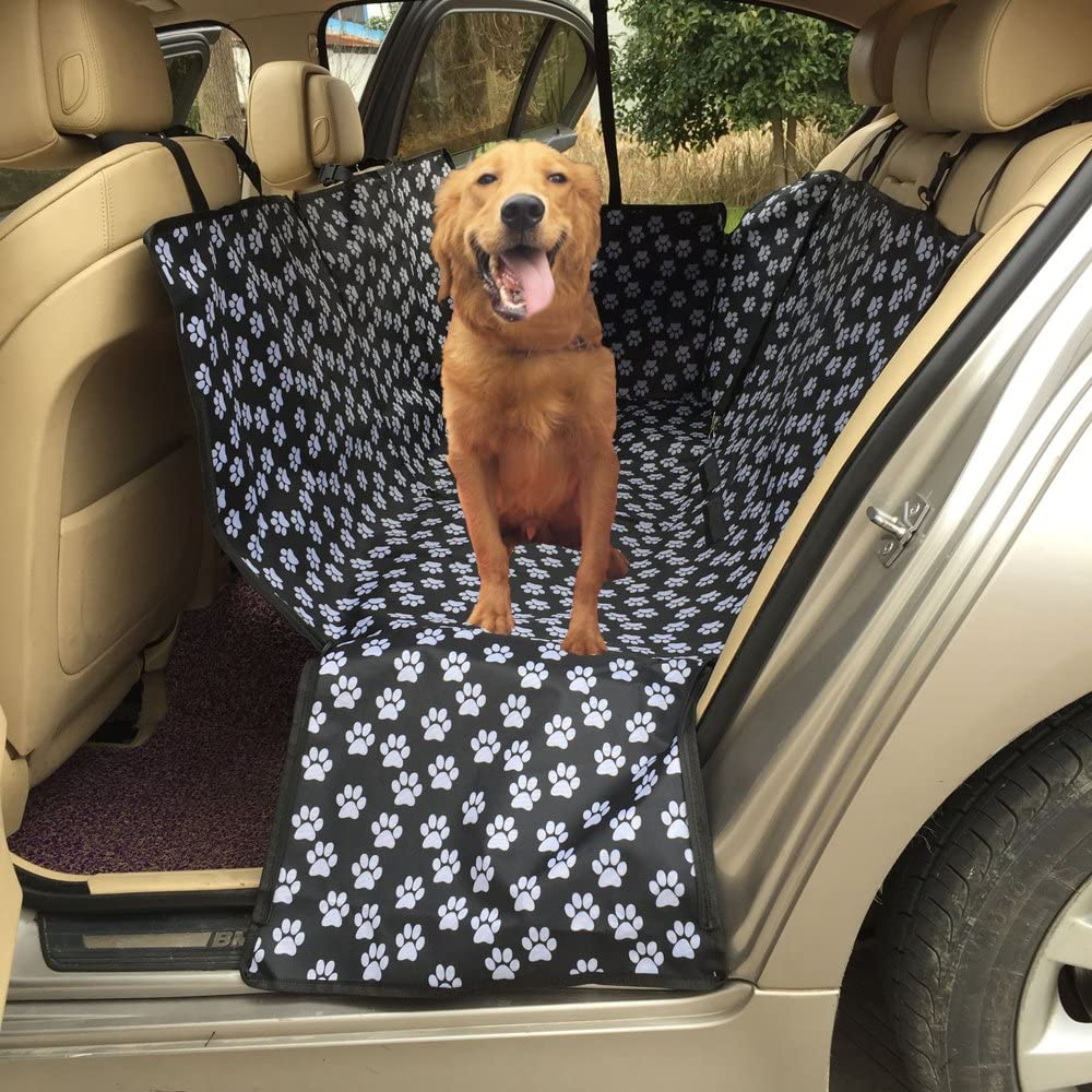 Dog Car Seat Cover Lenezaro Waterproof Scratch Resistant Nonslip Oxford Fabric Paw Pattern Back Seat Cover with Safety Buckle and Safety Exit Flipcover / for all cars