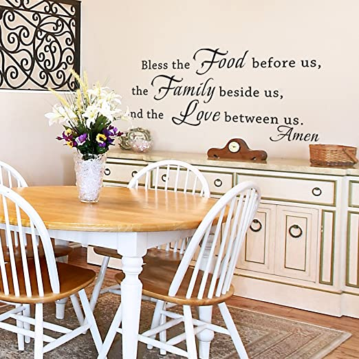 Amazon Com Bless The Food Before Us Wall Decal Kitchen Wall Art Vinyl Lettering Dining Room Wall Words Wall Sticker Family Wall Decor 58x27 Black Home Kitchen