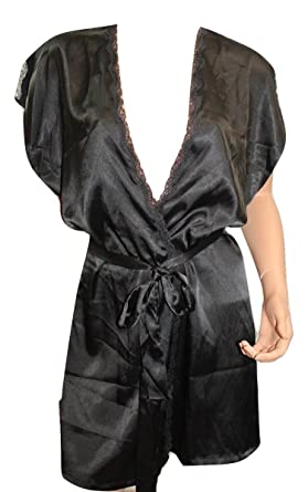 a158c3e1a2 Image Unavailable. Image not available for. Color  Victoria s Secret Lace  Trimmed Short Sleeves Satin Robe ...