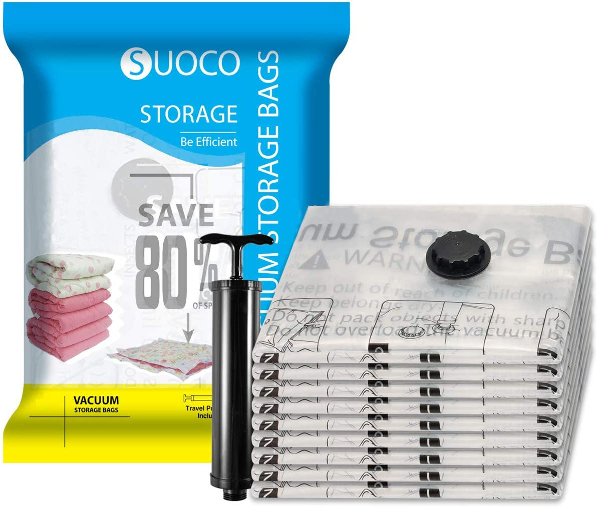 "SUOCO Vacuum Storage Bags 8 Pack Space Saver Compression Bags with Travel Hand Pump (Small 16""x 24"")"