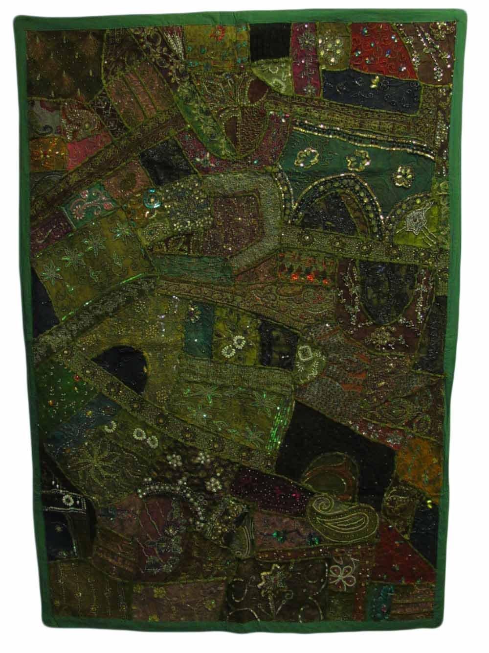 Indian Kantha Zari Handmade Vintage Tribal Rajasthani Patchwork Royal Wall Hanging Art Beaded Tapestry (Green Tones)