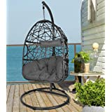 Action Club Wicker Egg Chair with Stand, Indoor/Outdoor Hanging Chair Dark Grey Cushions Swing Chair for Patio Bedroom Balcon