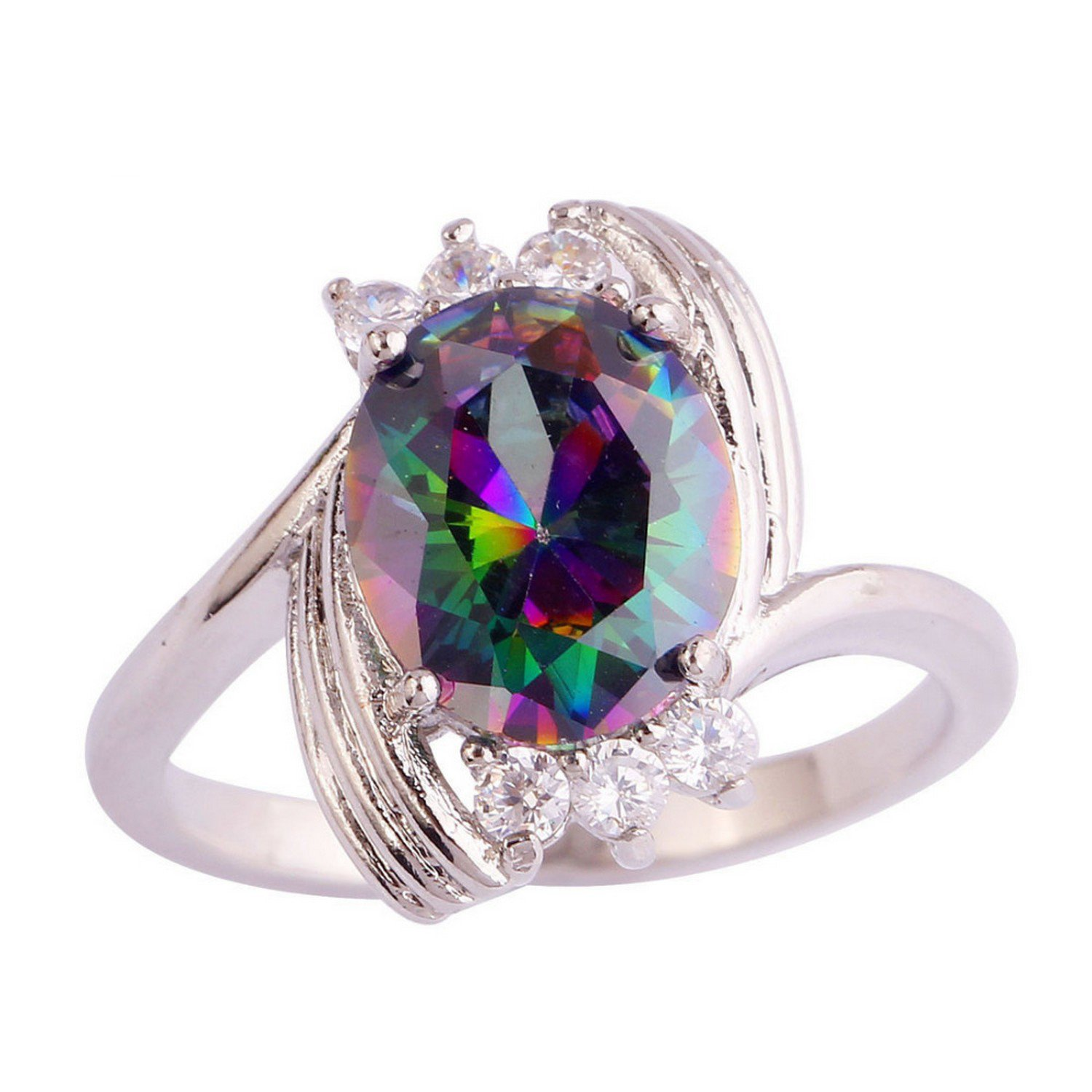 Slyq Jewelry Unisex Mysterious Rainbow White CZ Multi-Color cz engagement ring fashion jewelry rings for women