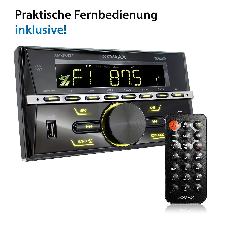 AUX I 7 Colori di illuminazione regolabili I 2 DIN XOMAX XM-2R421 Autoradio con Bluetooth I RDS I AM FM I USB