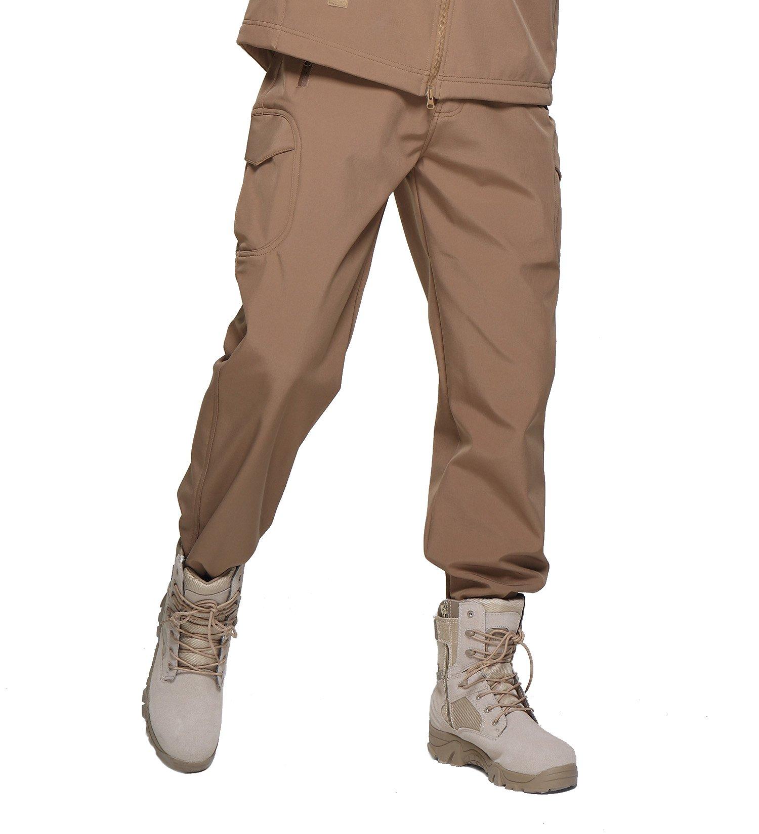 MAGCOMSEN Mens Winter Snow Ski Pants Water Resistant Zipper Pockets Softshell Fleece Lined Hiking Pants Rain Pants