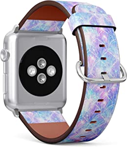 Compatible with Apple Watch 38mm & 40mm (Series 5, 4, 3, 2, 1) Leather Watch Wrist Band Strap Bracelet with Stainless Steel Clasp and Adapters (Mermaid Galaxy)