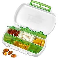 Pillbox - Medicamentos a prueba de agua Pillbox es un dispensador de almacenamiento diario sin BPA para todos sus medicamentos, suplementos, vitaminas y medicamentos, ideal para viajar y para el uso diario de MEDca.