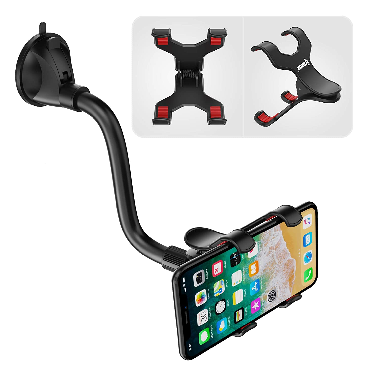 IPOW Car Phone Mount Windshield with X-Shaped Clamp Fits Thick/Irregular Phone Case,Long Arm Cell Phone Holder for Car with Strong Suction 4351536357