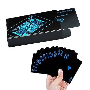 Ofkpo Juego De Cartas Naipes Del Plastico Placer Del Poker Negro