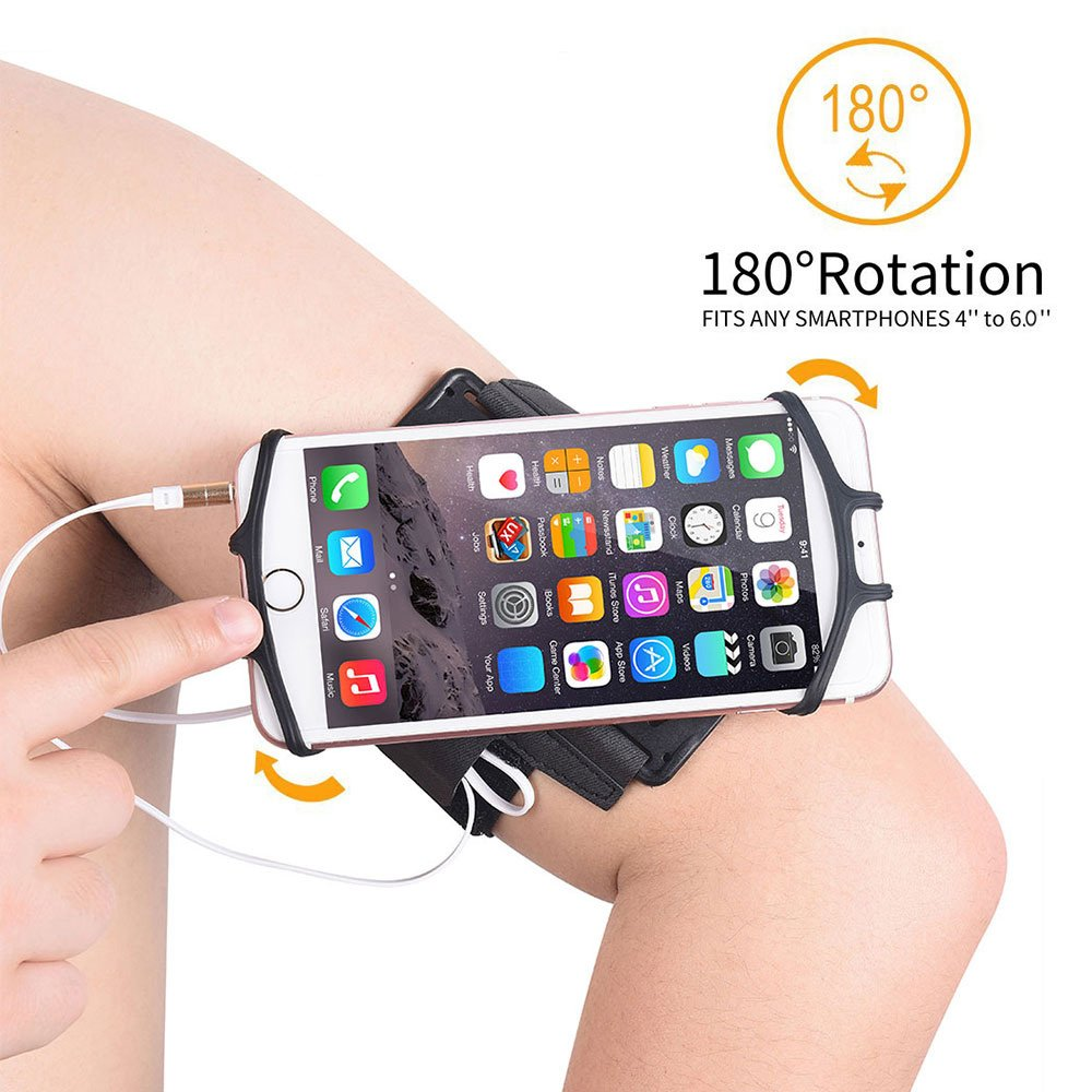 Sports Phone Armband for iPhone X/ iPhone 8 Plus/8/ 7 Plus/7/6 Plus/6s Galaxy S8/ S8 Plus/Note 8,180°Rotatable Arm Wrist Band Case for Hiking Biking Running Exercise,Forearm Phone Holder for Men&Women