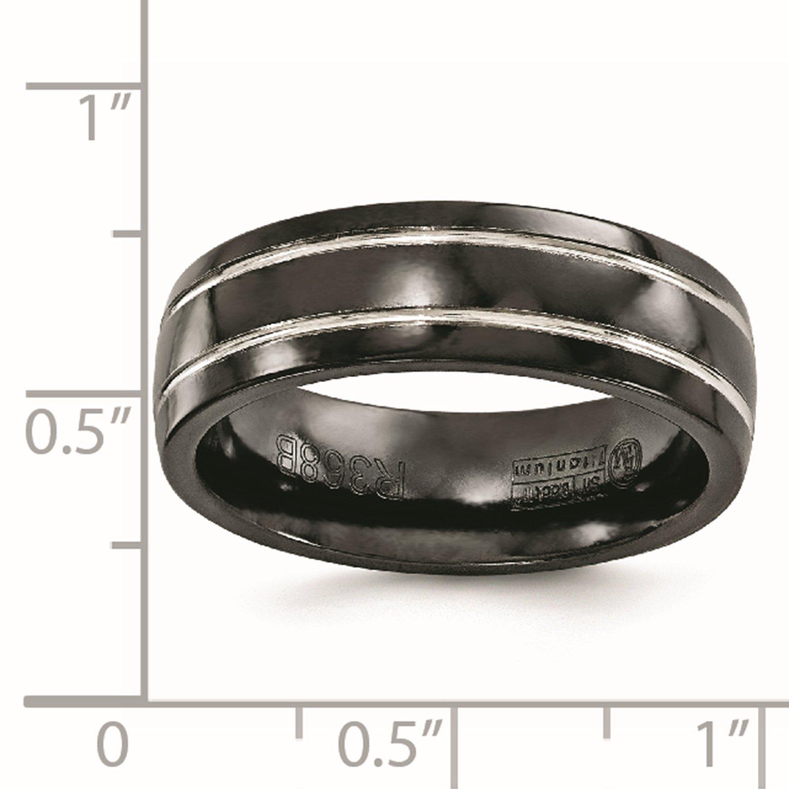 Titanium Black Ti & Grey Grooved 7mm Wedding Ring Band Size 8.5 by Edward Mirell by Venture Edward Mirell Titanium Bands (Image #5)