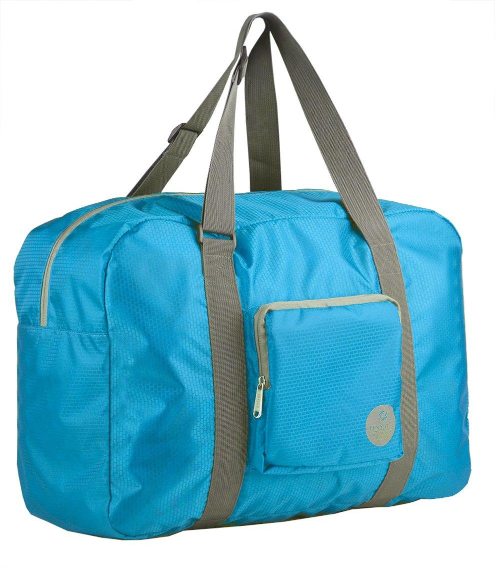 Wandf Foldable Travel Duffel Bag Luggage Sports Gym Water Resistant Nylon, Blue by WANDF (Image #2)