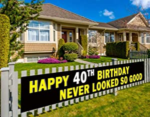 Colormoon Large 40th Birthday Banner, 40th Birthday Party Supplies Decorations, 40th Birthday Sign - Never Looked So Good (9.8 x 1.5 feet)