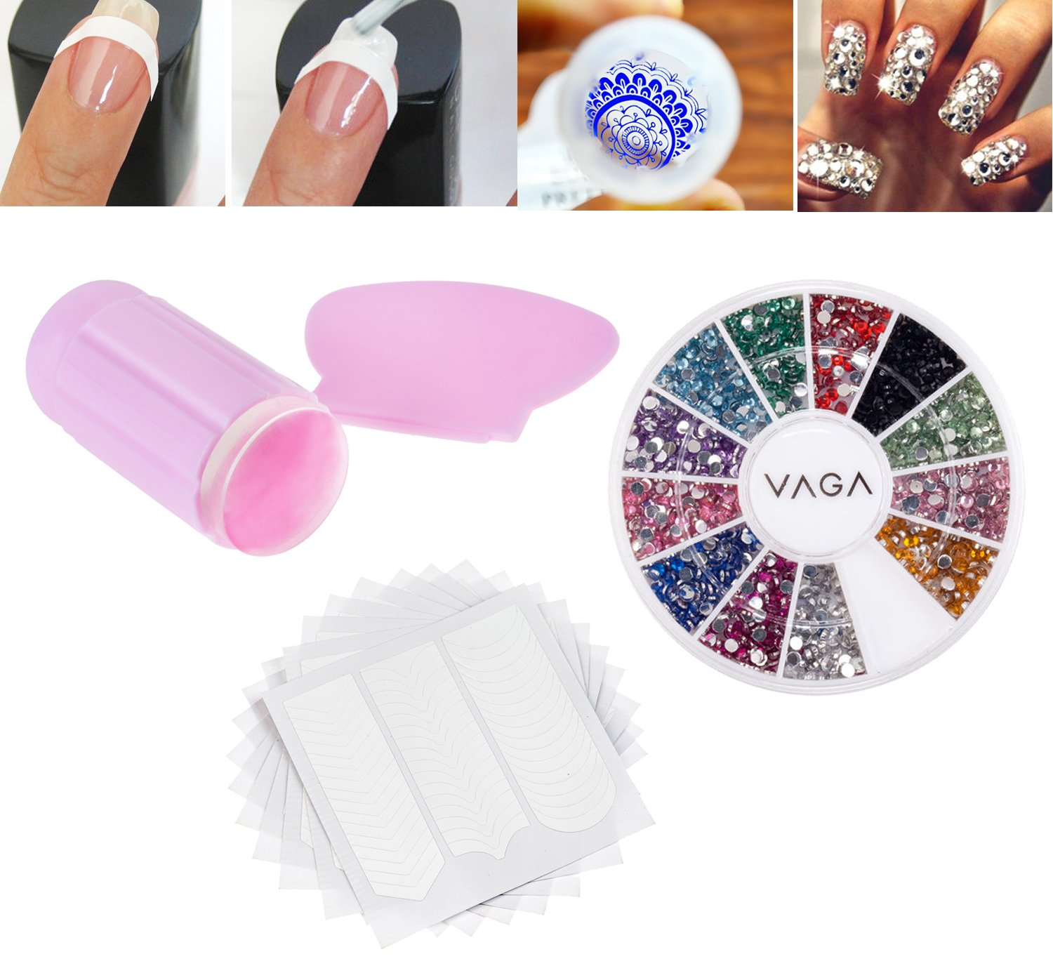 Amazing Value Professional Manicure Nail Art Salon Quality Tools Accessories Set Kit Including 10pcs Cards Each With 51pcs White Guides Stickers / Strips In 3 Different Shapes For French Nails And Lines Designs Application, Wheel With Rhinestones / Crystal