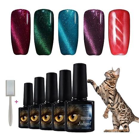 Joligel 5pcs Esmaltes Ojo de Gato 3D Semipermanentes Multicolor Gel para Uñas Kit de Manicura Soak