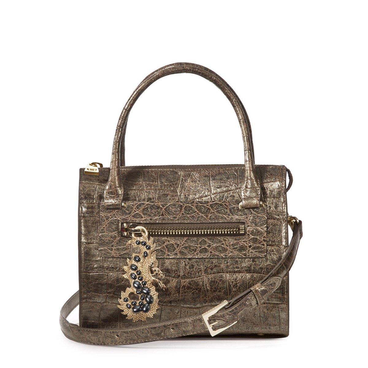 Eric Javits Luxury Fashion Designer Women's Handbag - Dragon Lady - Pewter