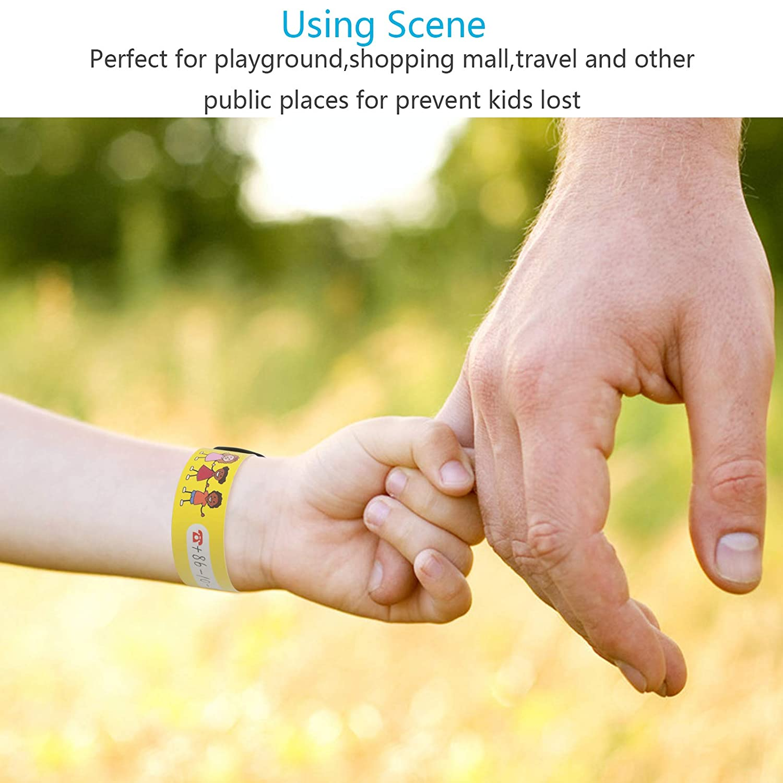 ZoomSky 24tlg Kinder Notfallarmband ID SOS Sicherheitarmband Wasserfest Infoarmband wiederverwendbar Kindersicherheit Armband f/ür Jungen M/ädchen