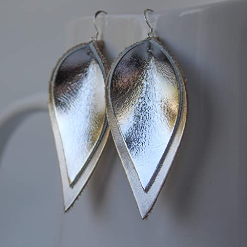 bbe49adb7cf108 Amazon.com: Genuine Leather & Sterling Silver Leaf Earrings ...