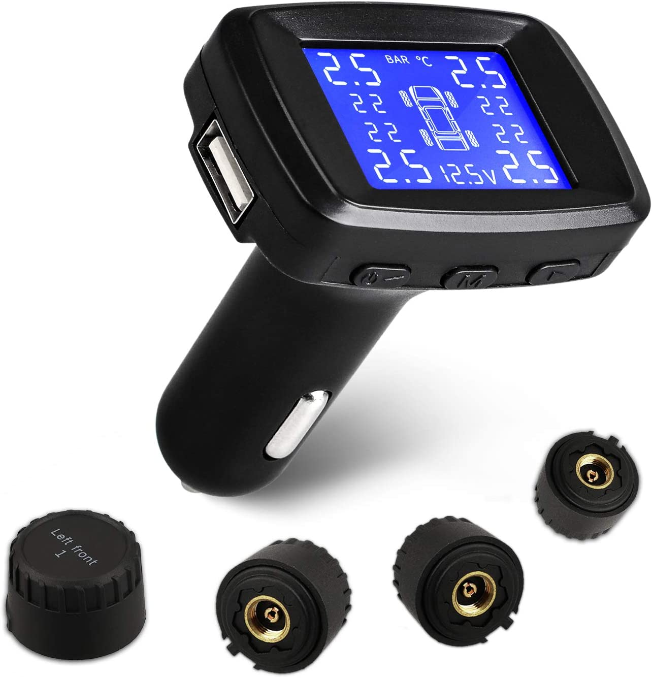 6 Alarm Modes Universal Solar and USB Power Remote TPMS with 4 External Cap Sensors /& 4 Battery OTUAYAUTO Wireless Tire Pressure Monitoring System Real Time Pressure /& Temperature Alerts