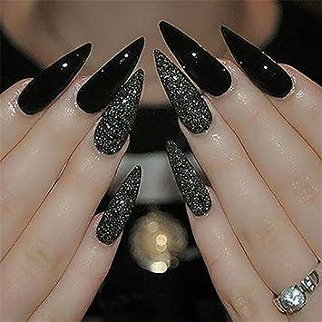 Amazon.com: 100PCS Long Stiletto Nails Long False Nail Art Tips ...