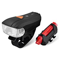 Elinker, Rechargeable Waterproof Bike Lights Set Headlight Taillight Combinations - CREE XPG LED Lights Smart Sensor Mountain Bike Light, 5 Light Mode, 1200mAh Lithium Battery - Easy Install