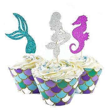 Herefun Décoration De Gâteau Sirène 60 Pièces Set Décor Gâteau Accessoire Gateau Diy Joyeux Anniversaire Pour Enfant Party Supplies Accessoires