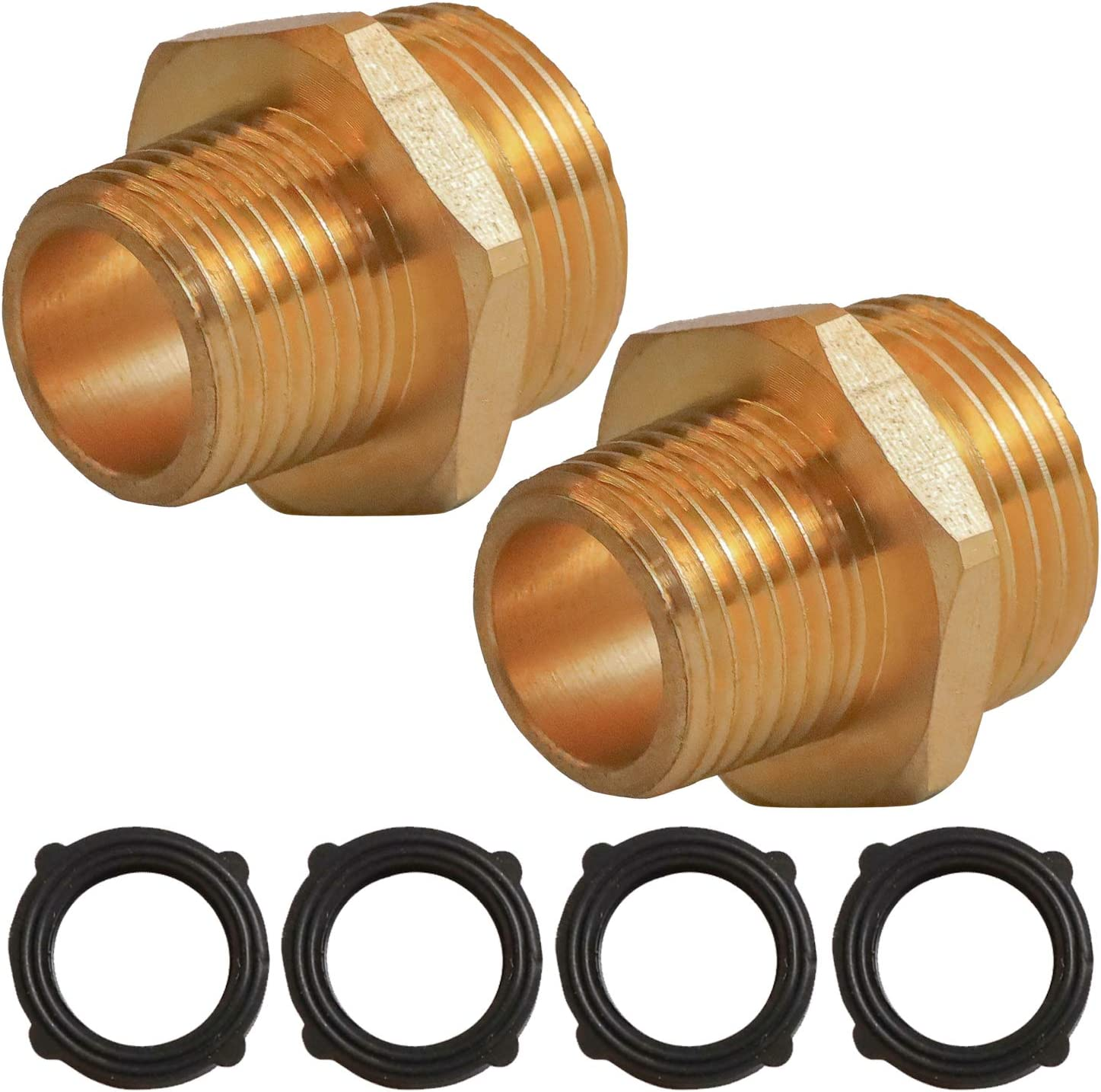 """Hourleey 3/4"""" GHT Male x 1/2"""" NPT Male Connector, Brass Garden Hose Fitting, Adapter, Industrial Metal Brass Garden Hose to Pipe Fittings Connect, 2 Pack"""