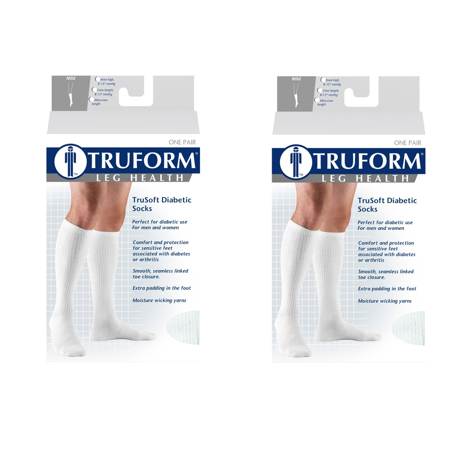 Truform 1913, Diabetic Compression Socks, 8-15 mmHg, Knee High, Cushion Foot, White, Large (Pack of 2) by Truform