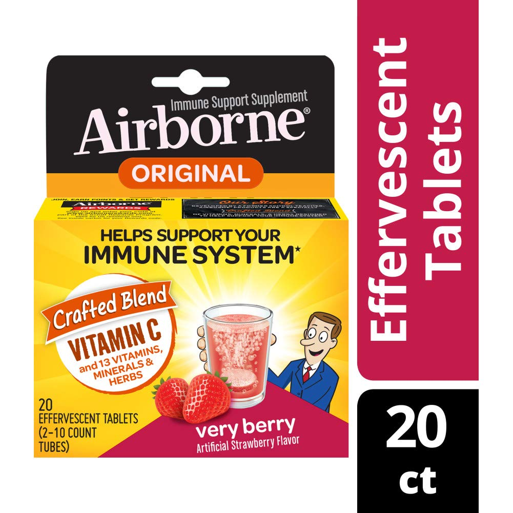Airborne Very Berry Effervescent Tablets, 20 count - 1000mg of Vitamin C - Immune Support Supplement