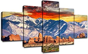 Rocky Mountains Wall Art National Park Landscape Wall Decor Canvas Prints Framed Picture for Home Living Room Bedroom Decoration 5 Piece Artwork Ready to Hang(60''Wx32''H)