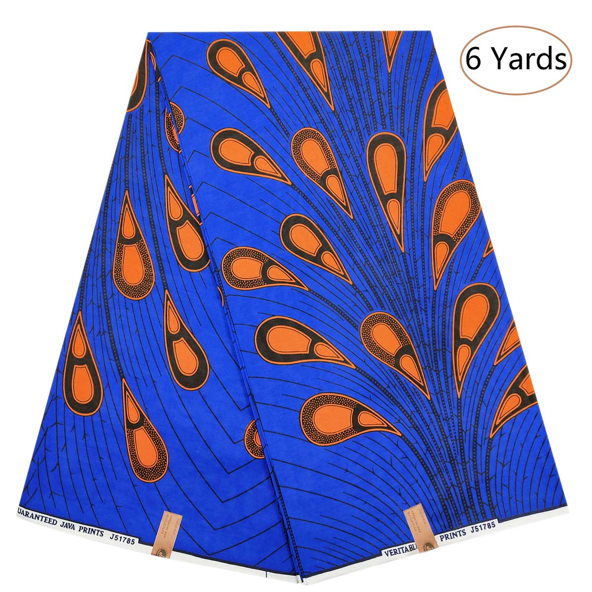 b1e61a088a183 Amazon.com: Dexuelan 6 Yards Ankara Print Fabric African Wax Print Fabric  with Feather Designs for Sewing Dress Clothing Designs (Dark Blue and Brown)