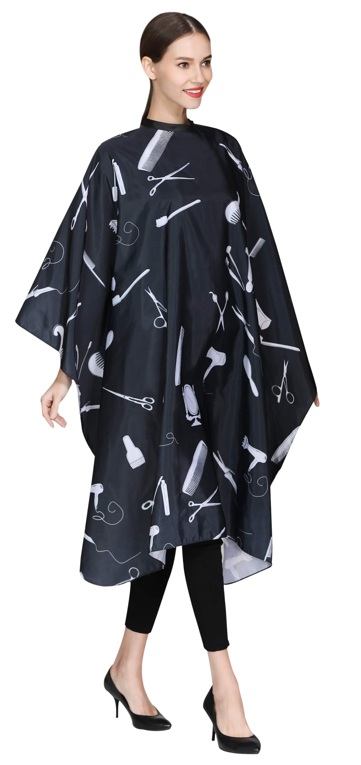 Barber Hair Cutting Cape with Snaps, Salon Hair Styling Cape Cover for Adults Clients-Black by PERFEHAIR