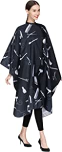 Barber Hair Cutting Cape with Snaps, Salon Hair Styling Cape Cover for Adults Clients-Black