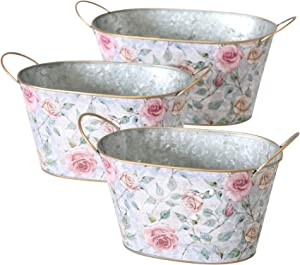 WHW Whole House Worlds 3 Pack Galvanized Oval Planters, English Rose Garden Pattern, Rolled Rims, Gold Handles, 13.5, 11.75, 10.75 Inches Long Botanical Themed