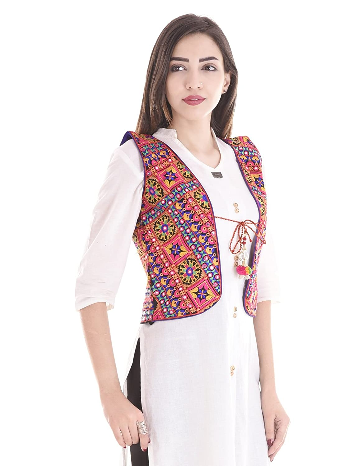 Attire Women's Kutch embroidered Shrug/Navratri special Gujarati koti jacket  Assorted Colours and Assorted Designs
