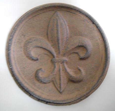 Amazon.com: Cast Iron FLEUR DE LIS Plaque Finial Garden Sign Home ...
