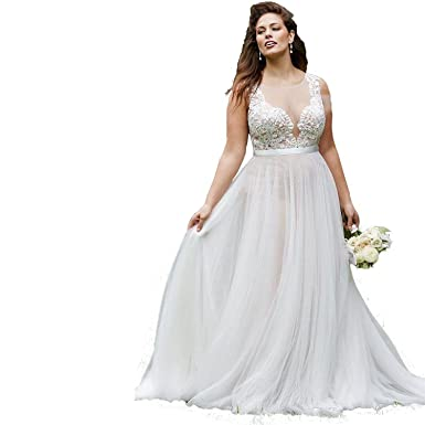Banfvting Simple Beach Wedding Dresses Plus Size Bridal Gown ...